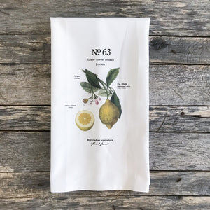 Lemon Botanical Tea Towel - Linen and Ivory