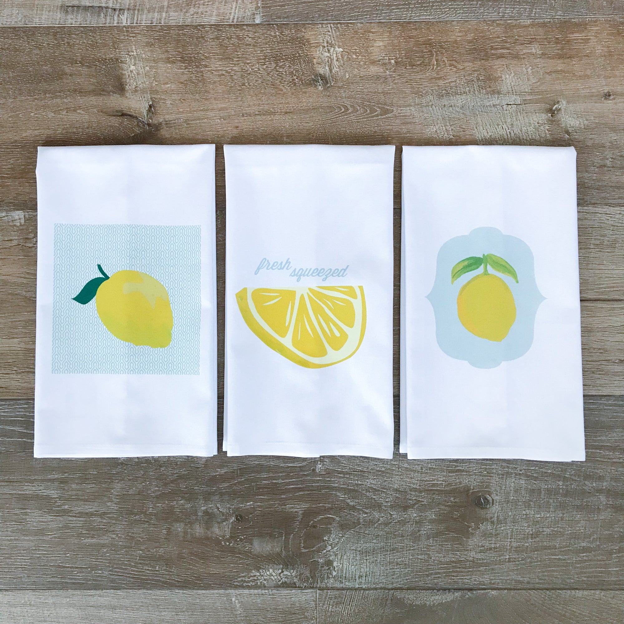 Lemon Tea Towel Set - Linen and Ivory