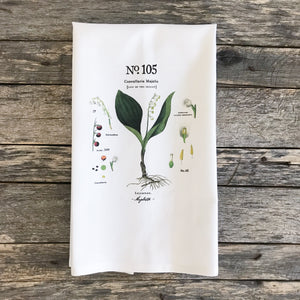 Lily of the Valley Botanical Tea Towel - Linen and Ivory