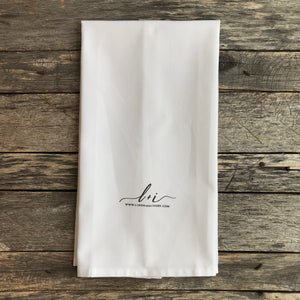 Give Thanks Calligraphy Tea Towel - Linen and Ivory