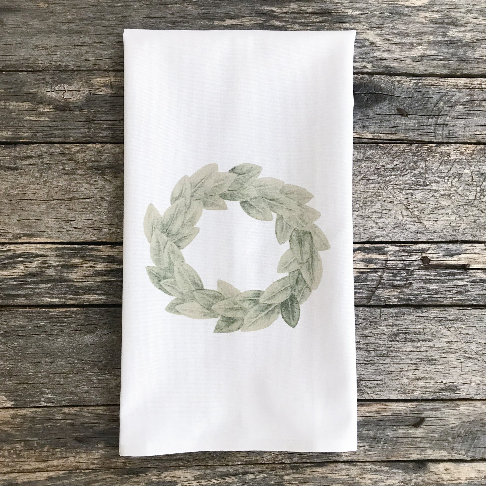 Magnolia Wreath Tea Towel - Linen and Ivory
