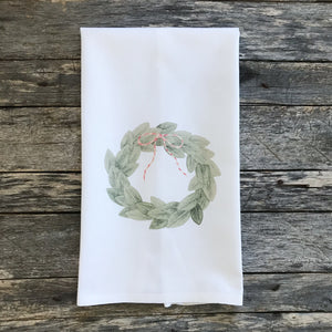 Magnolia Wreath with Red Bow Tea Towel - Linen and Ivory