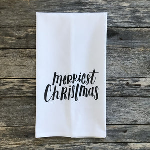 Merriest Christmas Tea Towel - Linen and Ivory