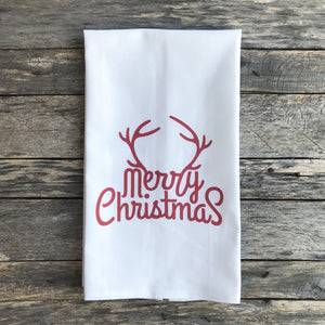 Merry Christmas Antlers Tea Towel - Linen and Ivory