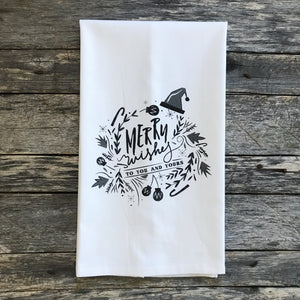 Merry Wishes (Black) Tea Towel - Linen and Ivory