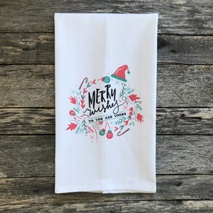 Merry Wishes (Color) Tea Towel - Linen and Ivory