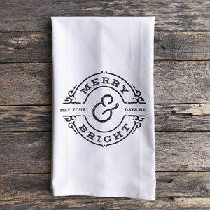 Merry & Bright Circle Tea Towel (Black) - Linen and Ivory
