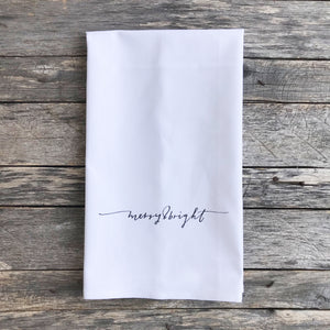 Merry & Bright Horizontal Tea Towel - Linen and Ivory