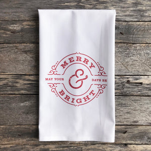 Merry & Bright Circle Tea Towel (Red) - Linen and Ivory