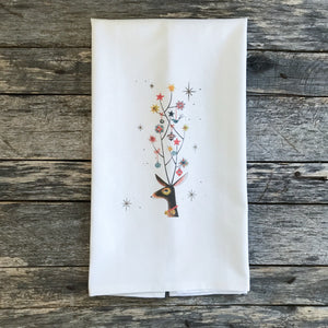 Mid Mod Christmas Deer Tea Towel - Linen and Ivory