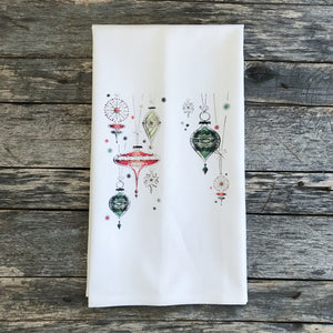 Mid Mod Ornaments Design 1 Tea Towel - Linen and Ivory