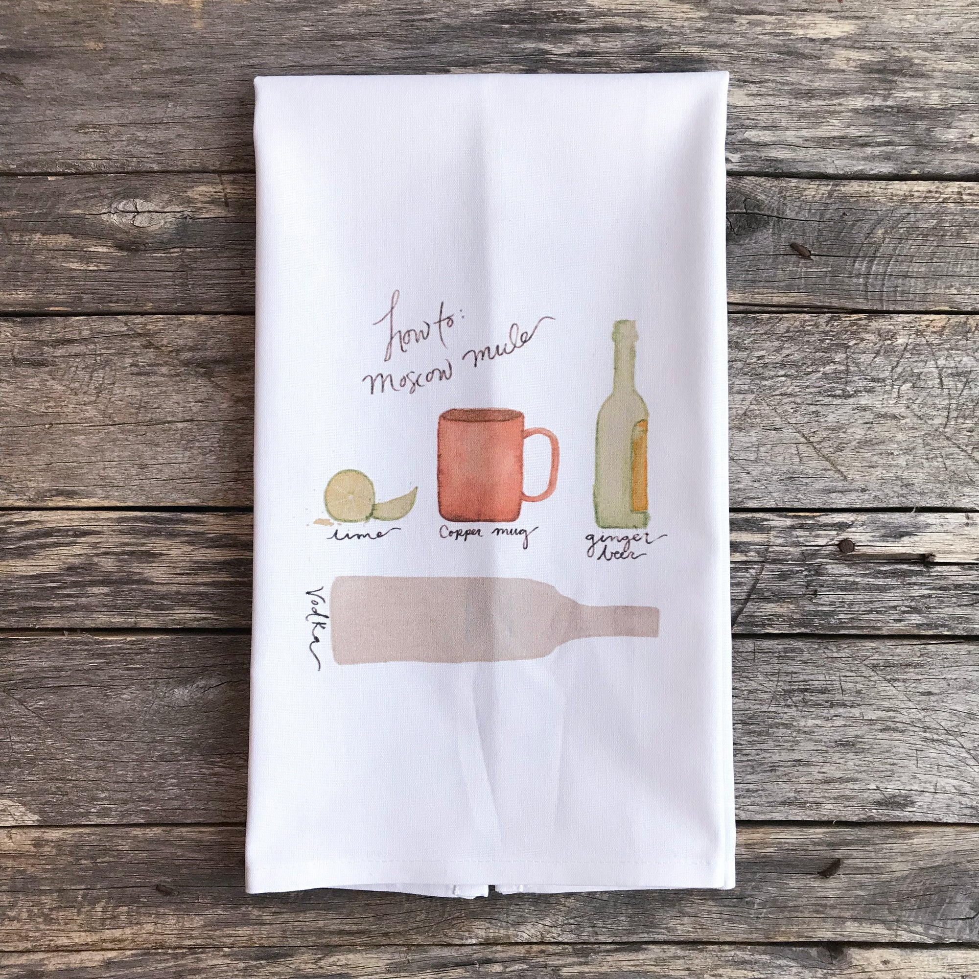 Moscow Mule Tea Towel - Linen and Ivory