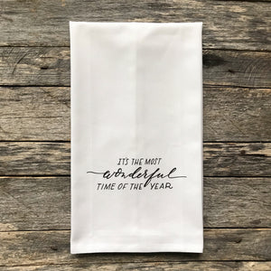 The Most Wonderful Time of the Year Tea Towel - Linen and Ivory