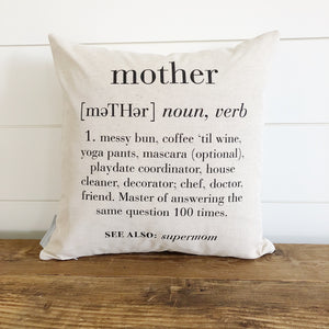 Mother Definition Pillow Cover - Linen and Ivory