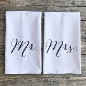 Mr. & Mrs. Tea Towels - Linen and Ivory