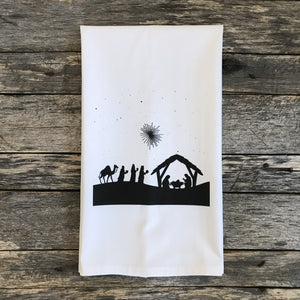 Nativity Tea Towel - Linen and Ivory