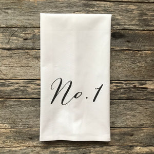 No. 1 Black Tea Towel - Linen and Ivory