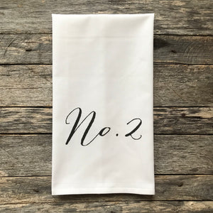 No. 2 Black Tea Towel - Linen and Ivory