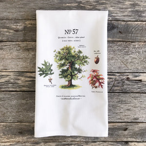 Oak Tree Botanical Tea Towel - Linen and Ivory
