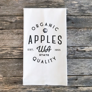 Organic Apples Tea Towel - Linen and Ivory
