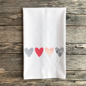 Pattern Hearts Tea Towel & Napkins - Linen and Ivory