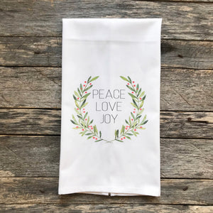 Peace Love Joy Wreath Tea Towel Linen And Ivory
