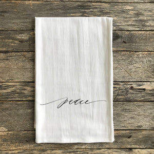 Peace Script Tea Towel - Linen and Ivory