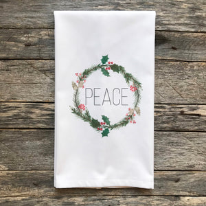 Peace Wreath Tea Towel - Linen and Ivory