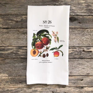 Peach Botanical Tea Towel - Linen and Ivory