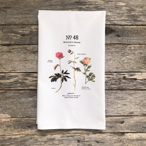 Peony Botanical (Design 2) Tea Towel - Linen and Ivory