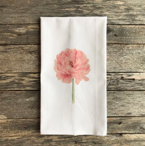 Watercolor Peony Tea Towel - Linen and Ivory