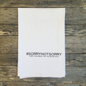 #SORRYNOTSORRY Tea Towel - Linen and Ivory