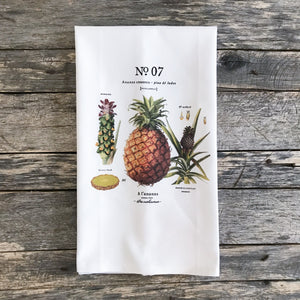 Pineapple Botanical Tea Towel - Linen and Ivory