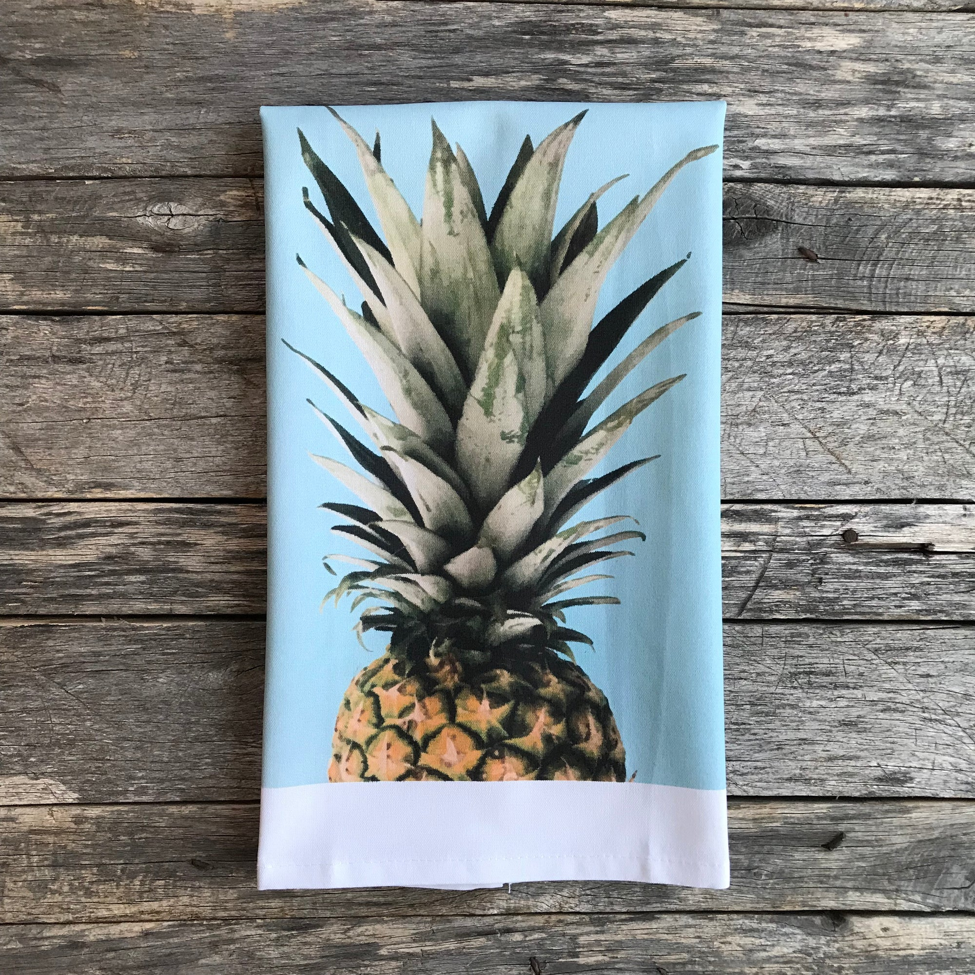 Pineapple Top Tea Towel - Linen and Ivory