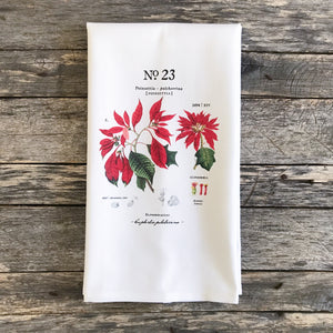 Poinsettia Botanical Tea Towel - Linen and Ivory