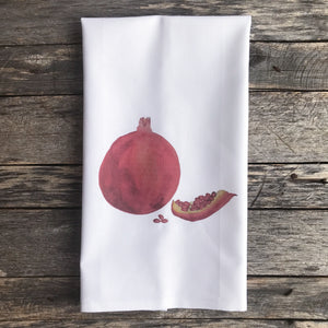 Pomegranite Tea Towel - Linen and Ivory