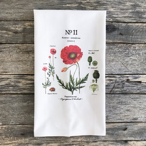 Poppy Botanical Tea Towel - Linen and Ivory