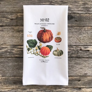 Pumpkin Botanical No. 2 Tea Towel - Linen and Ivory