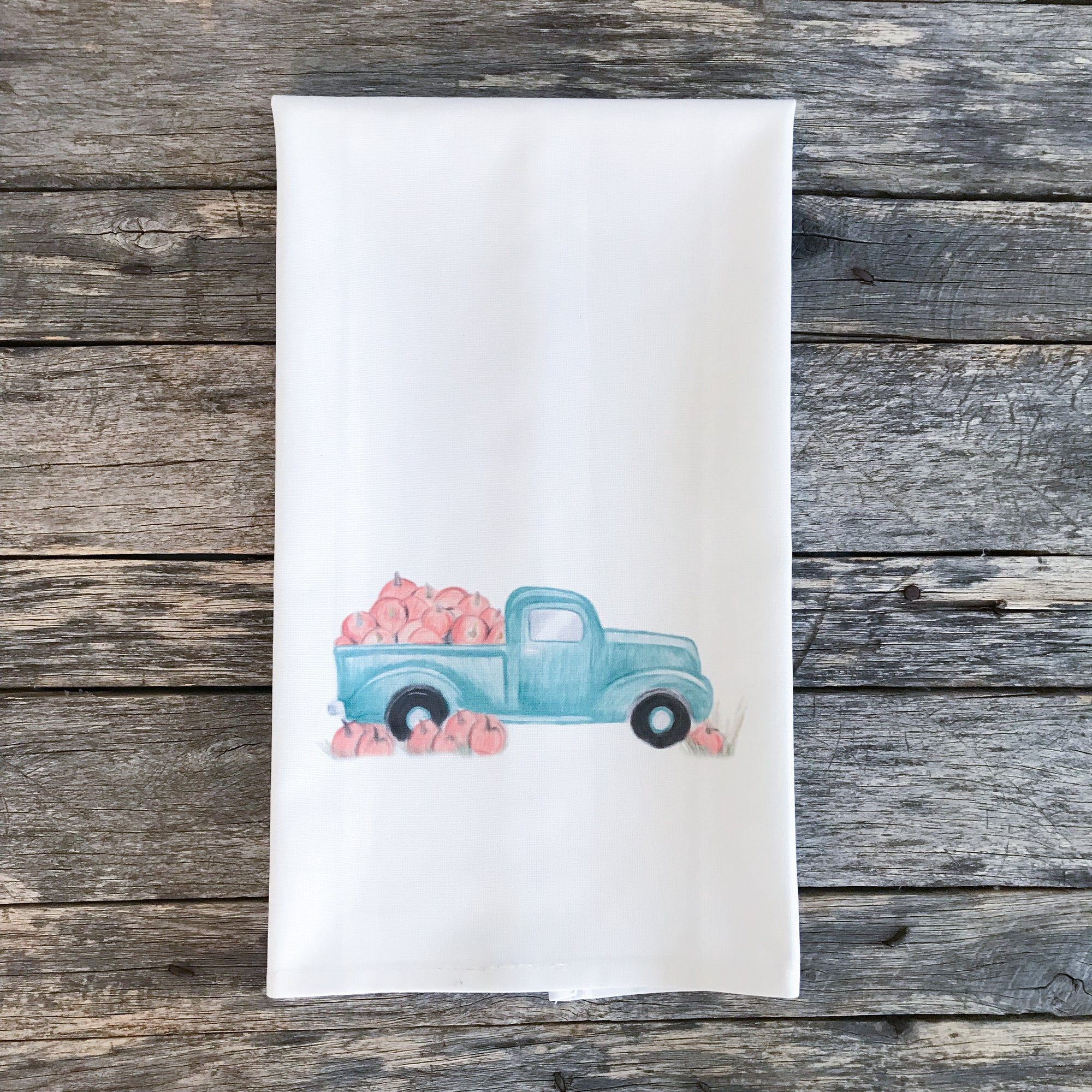Pumpkin Truck Tea Towel (Design by Amanda Michaud) - Linen and Ivory
