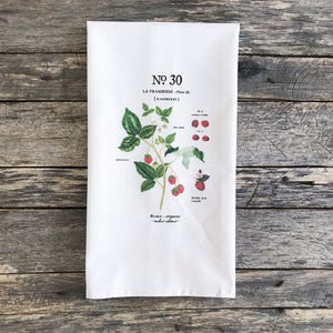 Raspberry Botanical Tea Towel - Linen and Ivory