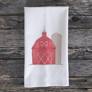 Watercolor Red Barn Tea Towel - Linen and Ivory