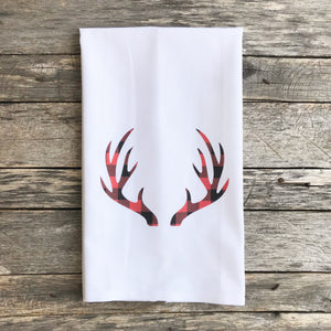 Buffalo Plaid Antlers (Red) Tea Towel - Linen and Ivory