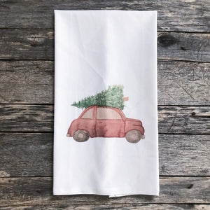 Red Christmas Car Tea Towel - Linen and Ivory