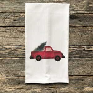 Red Truck (No Words) Tea Towel - Linen and Ivory