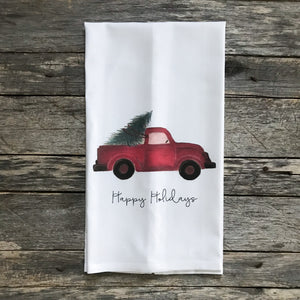Red Truck Happy Holidays Tea Towel - Linen and Ivory
