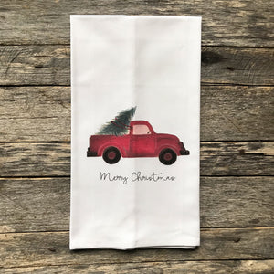 Red Truck Merry Christmas Tea Towel - Linen and Ivory