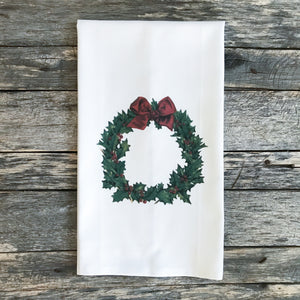 Vintage Holly Wreath Tea Towel - Linen and Ivory