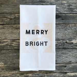Retro Merry & Bright (Blush) Tea Towel - Linen and Ivory