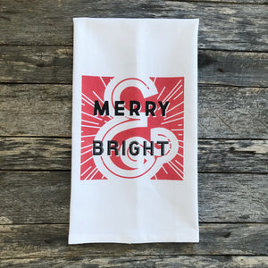 Retro Merry & Bright (Red) Tea Towel - Linen and Ivory