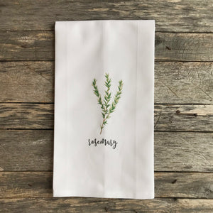 Rosemary Tea Towel - Linen and Ivory